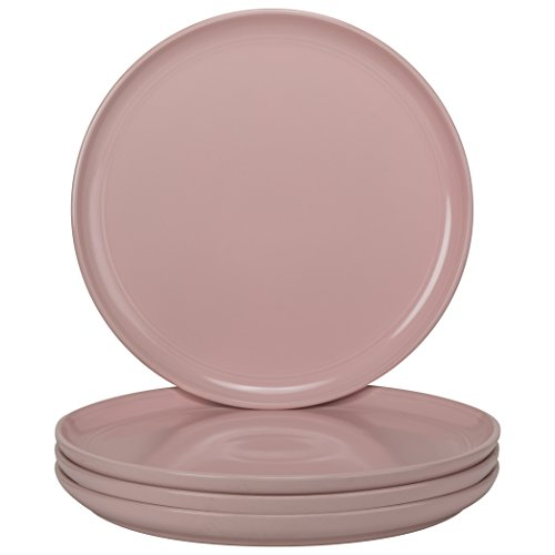 10 Strawberry Street DBL-1-PNK-DS Double Line Dinner Plates (Set of 4), 10.5