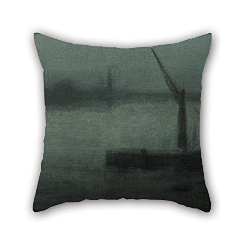 [16 X 16 Inches / 40 By 40 Cm Oil Painting James McNeill Whistler - Nocturne- Blue And Silver—Battersea Reach Pillow Covers,twin Sides Is Fit For Gf,bedroom,valentine,husband,adults,play] (Leo Johnson Costume)