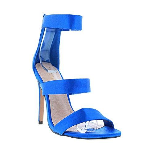 [Satin Triple Strap Accent Open Toe Women High Heels Liliana Golden76(Blue 9)] (Clunky Heels)