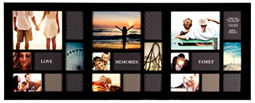 19 x 48 inch 24 opening matted collage frame large black