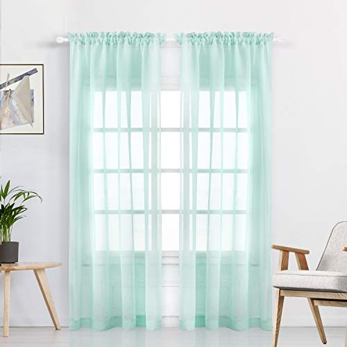 WONTEX Faux Linen Aqua Sheer Curtains - Rod Pocket Semi Sheer Voile Curtains for Living Room and Bedroom, Set of 2 Curtain Panels, 55 x 84 inch Each Panel ()