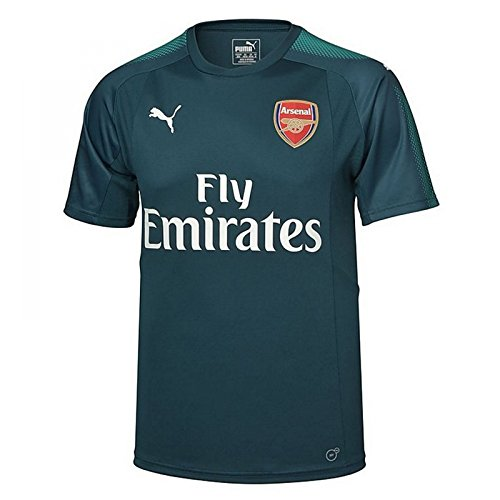 PUMA 2017-2018 Arsenal Home SS Goalkeeper Football Soccer T-Shirt Jersey (Deep Teal)