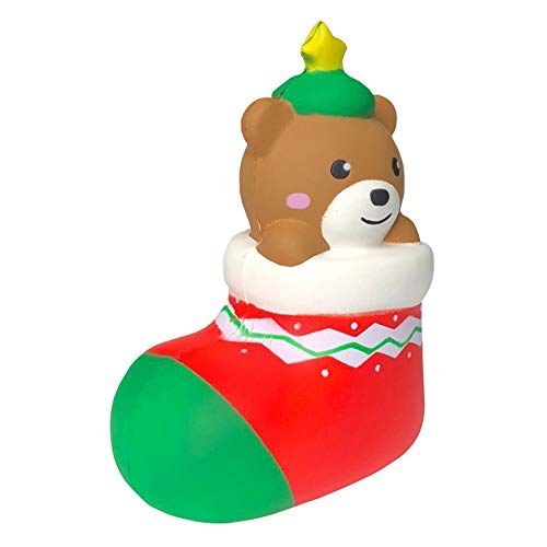 Pausseo Cute Christmas Gift Bear Socks Decompression Squeeze Toy Brain Game Scented Super Slow Rising Squeezable Dolls,Ideal for Stress Reliever & Anxiety Relief,Special Needs,Autism,Disorders & More from Pausseo Christmas Decor