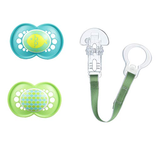 MAM Pacifiers and Baby Pacifier Clip, Baby Pacifier 6+ Months and Baby Pacifier Clip, Best Pacifier for Breastfed Babies, Trends Design Collection, Unisex, 3-Count