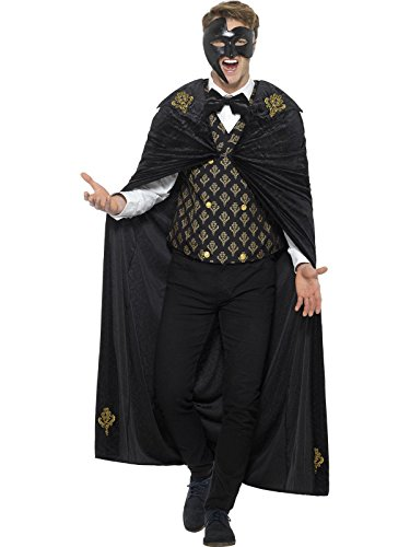 Smiffys Men's Deluxe Phantom Costume, Black/Gold, Large -