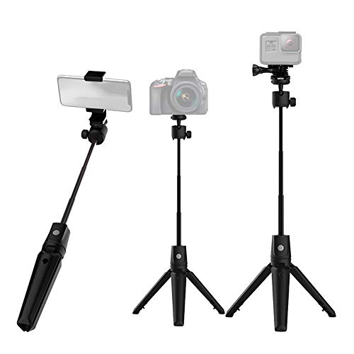 7-Section Extendable Aluminum Alloy Selfie Stick Mobile Phone Camera Universal Selfie Stick Integrated with Tabletop Tripod with BT Remote Shutter for Selfie-portrait Photography Group Photo Live