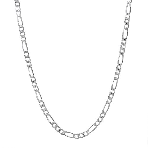 Solid Fancy Link (2.3mm Solid 925 Sterling Silver Figaro Link 20