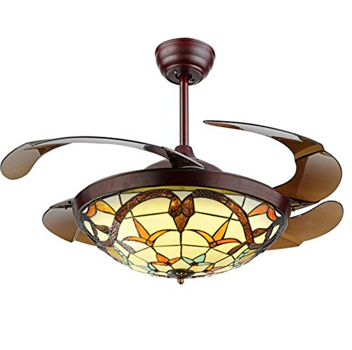 KALRI 42'' Tiffany Ceiling Fans with 3 LED Light Color Changing and Remote Control Retractable Invisible Classic Fan Chandelier Pendant Lamp for Living Room Bedroom