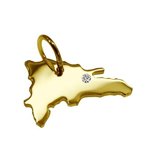 Prises électriques allemandes en république dominicaine avec un pendentif brillant 0,015ct sur votre wunschort en or jaune 585