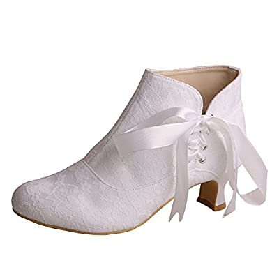 Wedopus MW798 Women's Closed Toe Short Chunky Heel Ribbon Lace Wedding Dress Ankle Boots