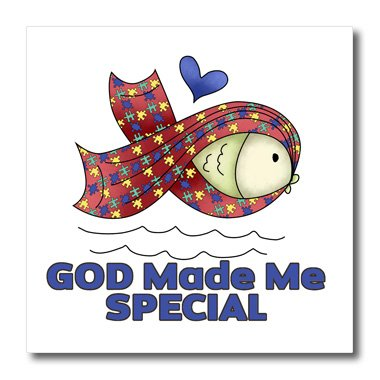3dRose ht_115528_2 God Made Me Special Autism Fish Symbol Awareness Ribbon Cause Design-Iron on Heat Transfer for White Material, 6 by 6-Inch -