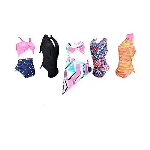 E-TING 5 Sets Beach Bikini Swimsuit Bathing Doll Clothes One-Piece Swimwear for Girl Dolls (Style#C)