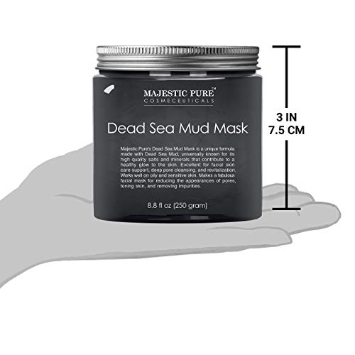MAJESTIC PURE Dead Sea Mud Mask for Face and Body - Natural Skin Care for Women and Men - Best Facial Cleansing Clay for Blackhead, Whitehead, Acne and Pores - 8.8 fl. Oz