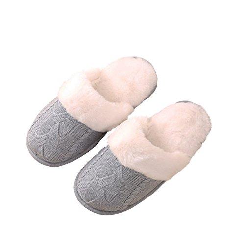 Q-plus Gebreide Warme Indoor Pull Van Rockwol Op Comfortabele Traagschuimslipper Met Zachte Rubberen Zoolgrijs