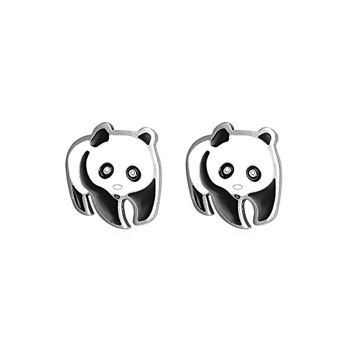 U7 Women Girls Stainless Steel Cute Panda Stud - Steel Panda
