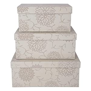 set of 3 cream decorative storage boxes with flocked floral finish - Decorative Storage Boxes