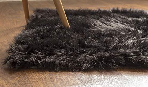 Super Area Rugs Soft Faux Fur Sheepskin Shag Silky Rug Baby Nursery Childrens Room Rug Black, 2 x 3