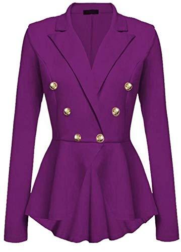 Solidi Bavero Corto Cappotto Business Autunno Double Camicia Violett Donna Tailleur Breasted Irregular Colori Lunga Manica Da Slim Fit Giacca Outwear 7wUq6ppT