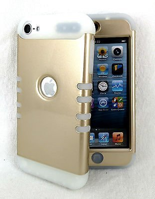 iPod Touch 5 Case, iPod 6 Case iTouch 5th & 6th Gen Cover Hybrid Heavy Duty Shock Resistant Silicon Skin & Hard Shell (Glow in Dark Gold)