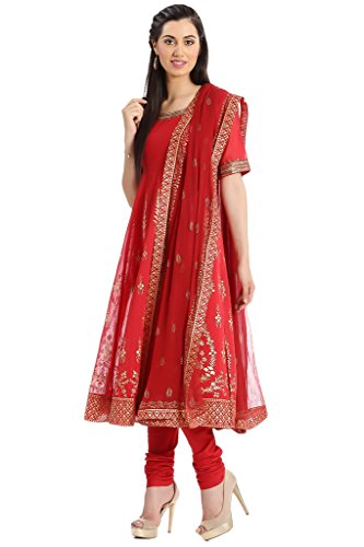 BIBA Women's Anarkali Cotton Silk Suit Set 34 Red by Biba (Image #1)