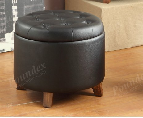1PerfectChoice Accent Cute Organizer Round Storage Ottoman Footstool Pouf  Faux - Black Leather Ottomans: Storage, Coffee Table Ottomans, Etc.