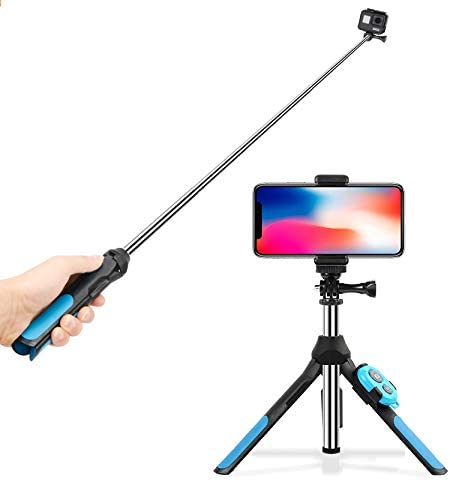 Blue Length: 19-93cm Multi-functional Foldable Tripod Holder Bluetooth Remote Control Selfie Stick Monopod for GoPro HERO7 //6 //5 Session //5 //4 Session //4 //3+ //3 //2 //1 Durable Xiaoyi Sport Cameras