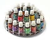 Essential Oil Carousel Storage Display Rack for 15ml bottles - 2 tiered - Clear w/Mirrored Base