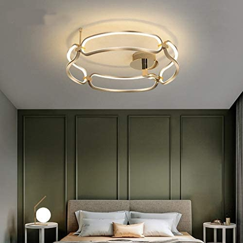 Ceiling Lights Nordic-Style Ceiling Lamp Modern Minimalist Aluminum Ring LED Round Ceiling Light Bedroom Living Room Decorated Chandelier Ceiling Lights (Color : Warm Light)