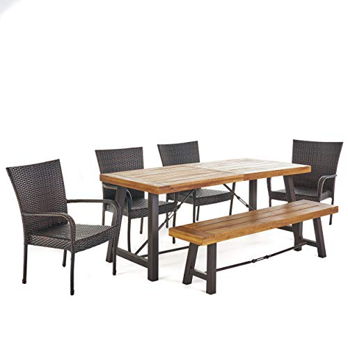 Great Deal Furniture Salla | 6 Piece Outdoor Acacia Wood Dining Set with Wicker Stacking Chairs | in Multibrown with Teak Finish For Sale
