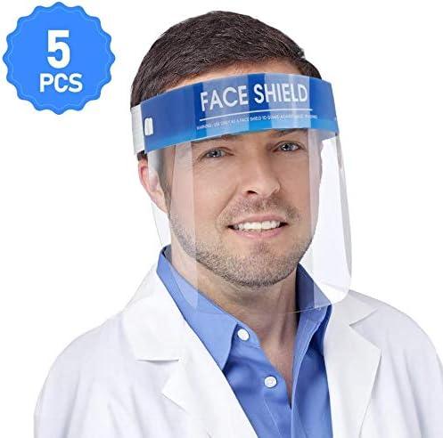 Yomi Lot de 5 prot/ège-visages pour prot/éger les yeux et le visage avec film de protection transparent /élastique et /éponge confort