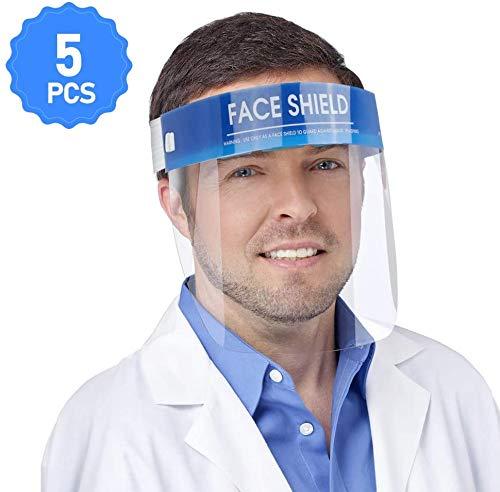Face Shield Protect Augen und Gesicht mit transparenter Schutzfolie, elastisches Band und Komfortschwamm, 5 Packungen