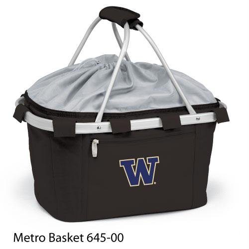 PICNIC TIME 645-00-175-622-0 University of Washington Embroidered Metro Picnic Basket, Black by PICNIC TIME