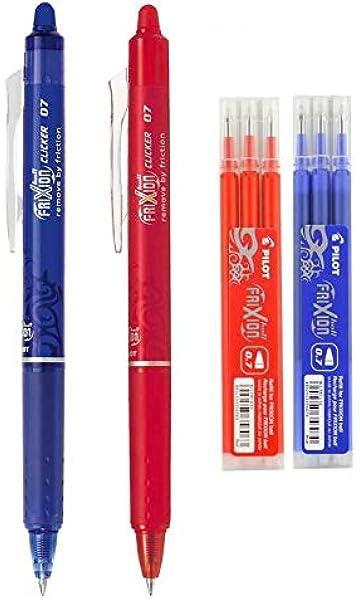 Pilot - FriXion Ball Clicker – Bolígrafo roller a presión (retráctil) con tinta de gel borrable (Juego con bolígrafo azul, bolígrafo rojo, 3 recambios en azul, 3 recambios en rojo): Amazon.es: Oficina y papelería