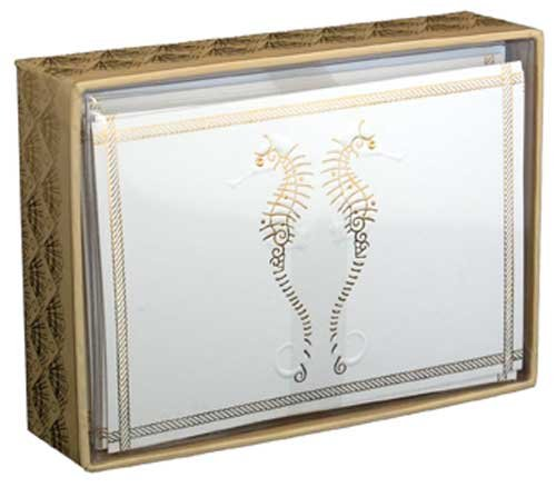 Gold Foil Seahorses - Pictura Box of 14 Blank Note Cards (Note Seahorses)