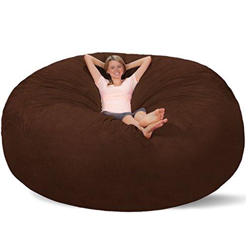 Comfy Sacks 8 Ft Memory Foam Bean Bag Chair Mocha Cords