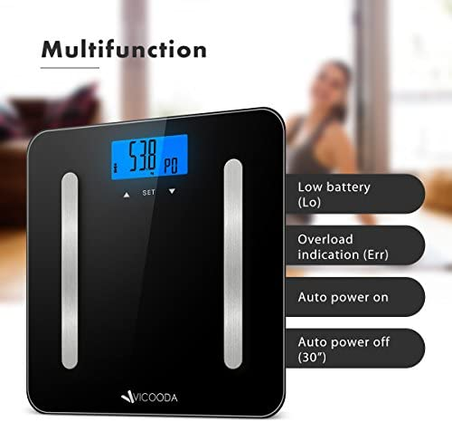 Digital Body Bathroom Weight Scale, VICOODA Bathroom Scale with Backlit LCD Display, Measures Body Weight Fat Water Muscle Mass Bone Mass BMI Calorie,400 Pounds, 6mm Tempered Glass, Black