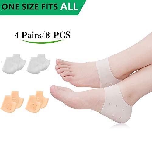 (8PCS) Silicone Heel Protectors,Heel Cups,Gel Heel Cushion,Plantar Fasciitis Inserts Pads& Heel Guards Great fot Heel Pain, Heal Dry Cracked Heels, Achilles Tendinitis.Heel - Heel Guards Gel