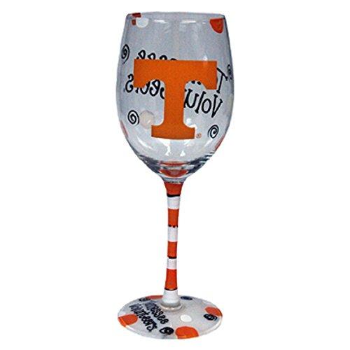White Stemware Wine (Tennessee Volunteers Orange and White Hand Painted Wine Glass)