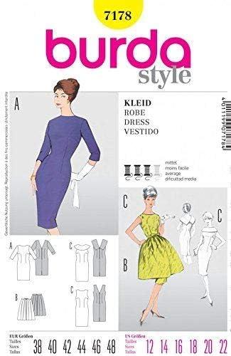 Burda 7178 - Patrón de costura para mujer, estilo vintage ...