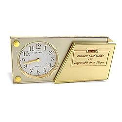 Seiko Gold Quartz Desk Clock QQQ196G Business Card Holder with Engravable Brass Plaque