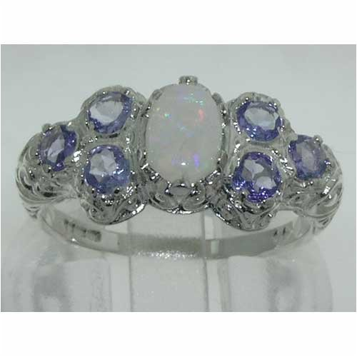 925 Sterling Silver Natural Opal and Tanzanite Womens Cluster Ring – Sizes 4 to 12 Available