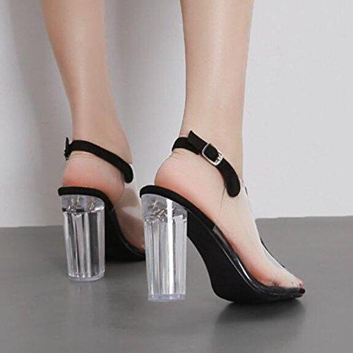 donna tallone Chunky punta outdoor nero pu casual sandali per Scarpe Comfort Almond ZHZNVX estivo mandorla chiusa 0anTF5w8q