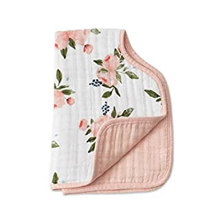 """Little Unicorn Cotton Muslin Burp Cloth – 8""""x 5""""x1.2"""" - 100% Cotton – Machine Washable - 4 Absorbent, Lightweight Layers - Playful Design - Reversible & Foldable - for Boys & Girls (Watercolor Roses)"""