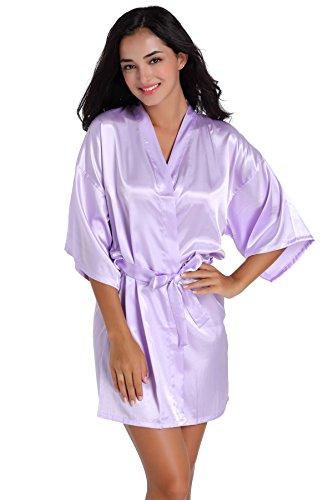 SexyTown Women's Short Satin Lounge Robes Bridesmaids Charmeuse Lingerie Sleepwear(Small,Light Purple)