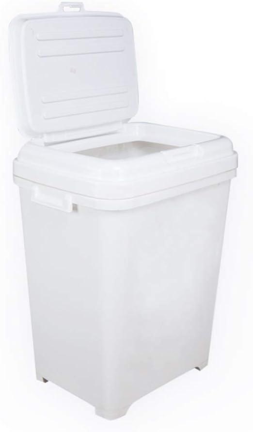Jlxl Contenedor para Pienso, Caja para Comida para Animales Perro Comida Seca Almacenamiento Blanco Capacidad 25kg/35L: Amazon.es: Hogar