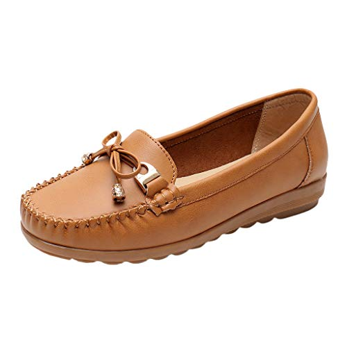 Toponly Women's Leather Roman Decorated Penny Loafers Low Heels Almond Toe Casual Daily Shoes ()