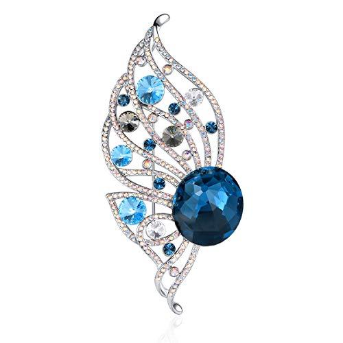 RAINBOW BOX Blue Butterfly Brooch Pins, Crystal with Swarovski Elegant Gifts Women