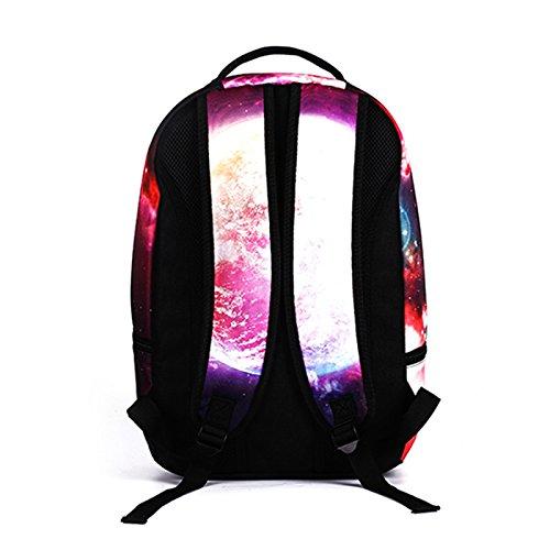 MIYA LTD 3D Cartoon Backpacks Boys,Unisex Fashion Rucksack Laptop Travel Bag Glowing College Bookbag Children's Schoolbag Teenager's Cute Backpack 3D Galaxy Print - Red Cat by MIYA LTD (Image #8)