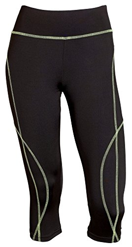 Sportoli Women Active Workout Compression Base Layer Capri Leggings Tights Pants - Black/Green (Small)