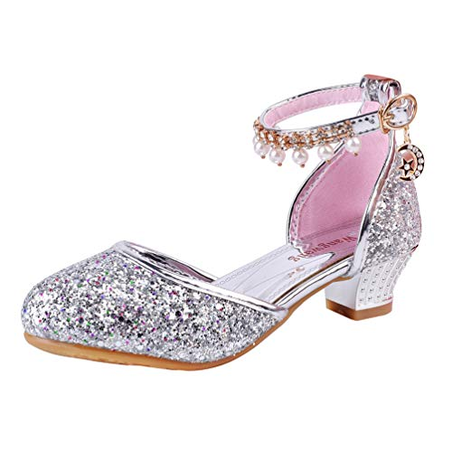Wangwang Toddler Girls Dress Pumps Glitter Sequins Princess Low Heels Mary Jane Party Dance Shoes (2 M Little Kid, Silver) -